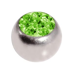 Nur Piercing Kugel Kristall Strass Hellgrün