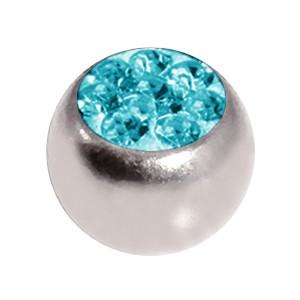 Boule de Piercing Seule Cristal Strass Turquoise