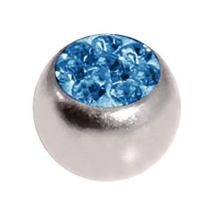 Boule de Piercing Seule Cristal Strass Bleu Clair