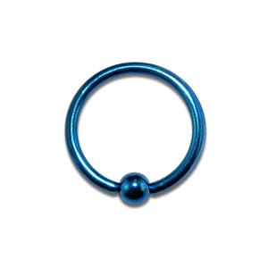 Piercing Labret / Anneau pas cher Anodisé Bleu Marine fermeture Boule