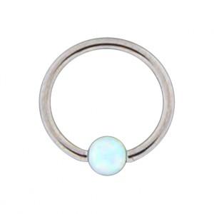 Piercing Anneau Lèvre / Oreille BCR Acier 316L Opale Synthétique Blanche