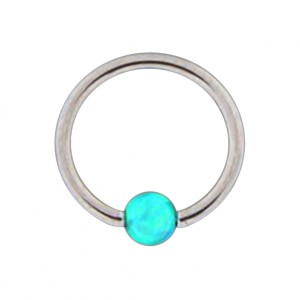 316L Steel Lip/Ear Ball Closure Ring with Green Synthetic Opal