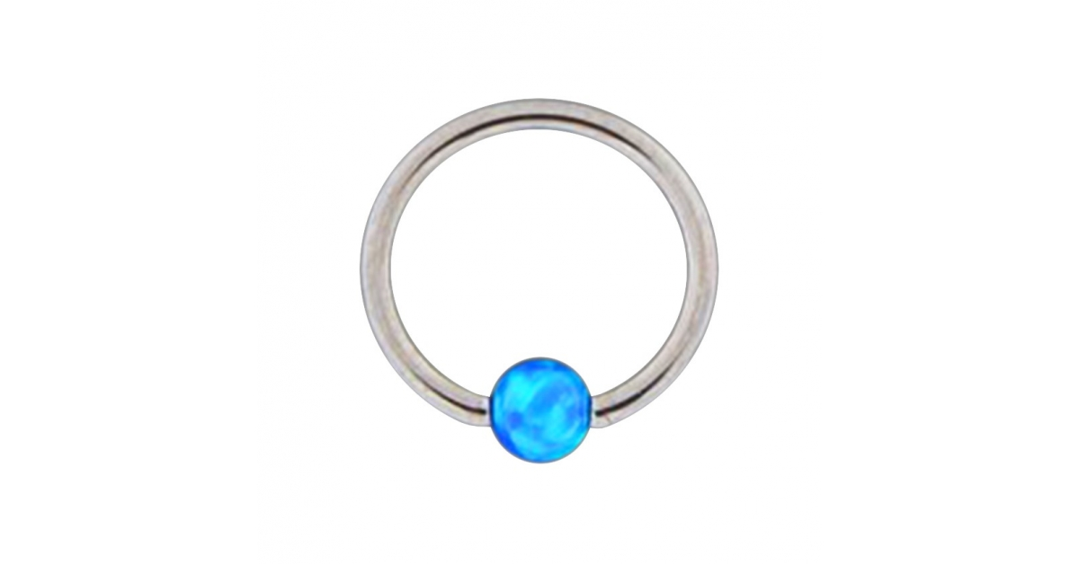 piercing anneau l vre oreille bcr acier 316l opale synth tique bleue. Black Bedroom Furniture Sets. Home Design Ideas