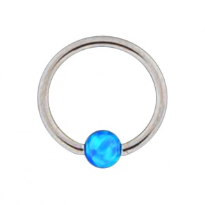 316L Steel Lip/Ear Ball Closure Ring with Blue Synthetic Opal