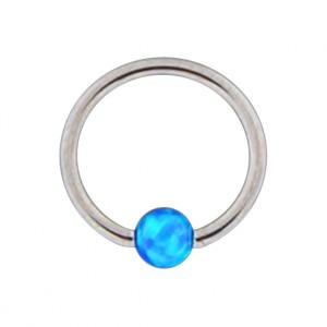 Piercing Ring Lippe / Ohr BCR Stahl 316L mit Synthetischen Opal Blau