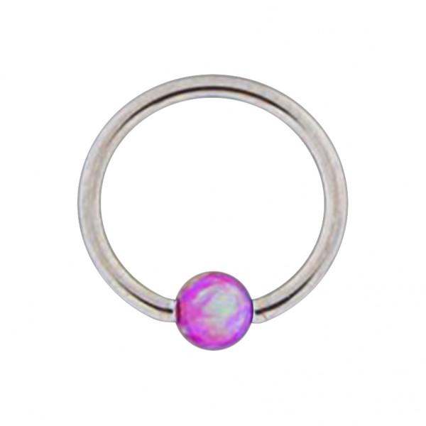 piercing anneau l vre oreille bcr acier 316l opale synth tique rouge. Black Bedroom Furniture Sets. Home Design Ideas