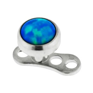 Opale Synthétique Bleue pour Piercing Microdermal