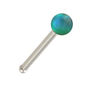 Piercing Nez Pin Droit Acier 316L Opale Synthétique Verte