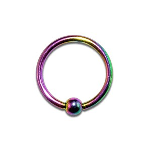 Piercing Labret / Anillo barato Anodizado Multicolor cierre Bola