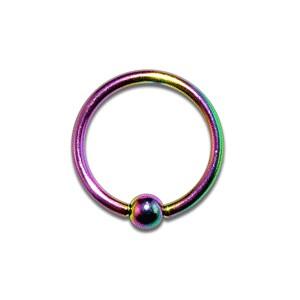 Piercing Labret / Anneau pas cher Anodisé Multicolore fermeture Boule