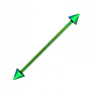 Green Anodized Industrial Barbell 316L Steel 14G Ring w/ Spikes