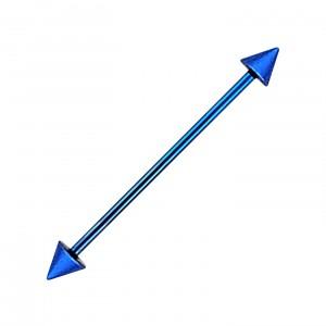 Piercing Industriel Barbell 14G Acier 316L Anodisé Bleu Foncé Piques