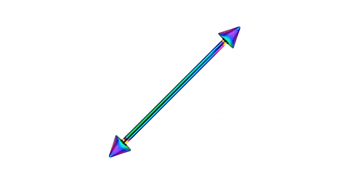 x 4 mm 1 1//4 1.2 x 32 Black Anodized Industrial Barbell 316L Steel 14G Black-Line Ring w//Spikes Piercing Jewel