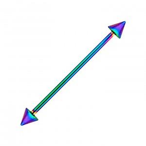 Piercing Industrial Barbell 14G Acero 316L Anodizado Multicolor Spikes
