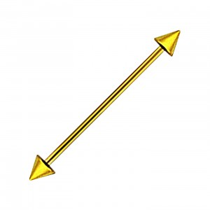 Gold Anodized Industrial Barbell 316L Steel 14G Ring w/ Spikes