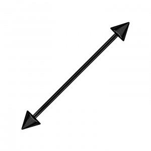 Piercing Industriel Black-Line Barbell 14G Acier 316L Anodisé Noir Piques