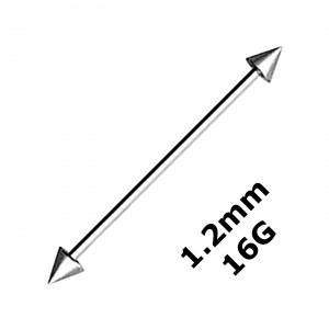 Piercing Industriel Barbell 1.2 mm / 16G Acier 316L Deux Piques