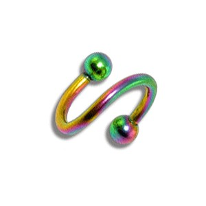 Piercing pas cher Helix / Spirale Anodisé Multicolore Boules