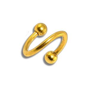 Piercing pas cher Helix / Spirale Anodisé Doré Boules