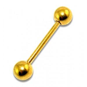 Gold Anodized Tongue Bar Ring w/ Balls