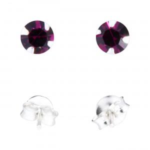 Boucles d'Oreilles Argent Massif 925 Strass Violet Foncé