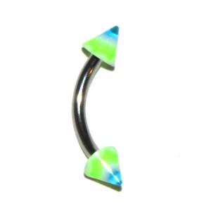 Piercing Ceja Acrílico Vagues Verde / Azul