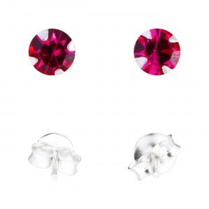 Boucles d'Oreille Argent Massif 925 Strass Rose Foncé