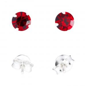 Boucles d'Oreilles Argent Massif 925 Strass Rouge