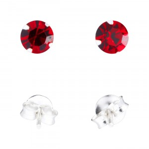 Red Strass 925 Sterling Silver Earrings Ear Pair Studs