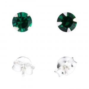 Dark Green Strass 925 Sterling Silver Earrings Ear Pair Studs