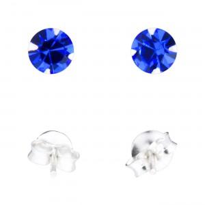 Blue Strass 925 Sterling Silver Earrings Ear Pair Studs