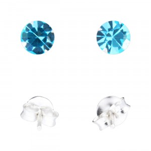 Boucles d'Oreilles Argent Massif 925 Strass Turquoise