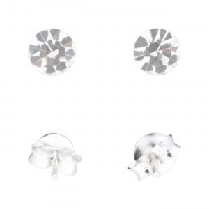 Boucles d'Oreilles Argent Massif 925 Strass Blanc