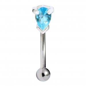 Piercing Arcade Argent Massif 925 Strass Casting Poire Turquoise