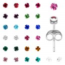 12x Birthstone Strass 925 Sterling Silver Earrings Ear Pair Studs