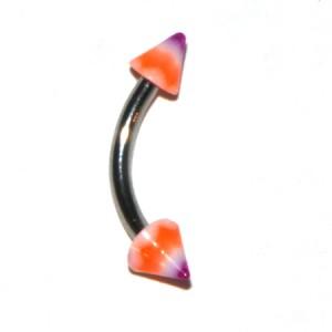 Orange / Purple Acrylic Eyebrow Curved Bar Ring w/ Waves