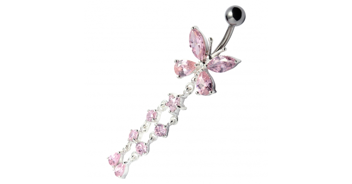 Pink Pebble Stones Butterfly 925 Silver 316l Steel Belly Bar Navel Button Ring W Dangling Star 6 Strass
