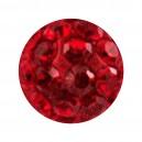 Nur Kugel Zungue / Bauchnabel Multi-Kristall Rot