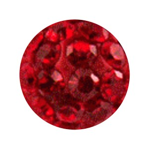 Boule Piercing Seule Langue / Nombril Multi-Cristal Rouge