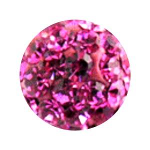 Boule Piercing Seule Langue / Nombril Multi-Cristal Rose