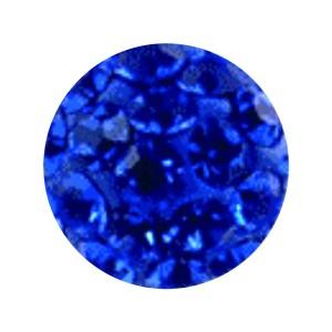 Boule Piercing Seule Langue / Nombril Multi-Cristal Bleu Foncé