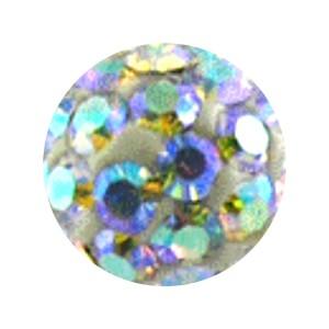 Boule Piercing Seule Langue / Nombril Multi-Cristal Multicolore