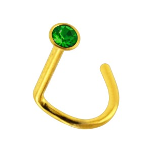 Gold Anodized 316L Steel Nose Stud Screw Ring w/ Dark Green Strass
