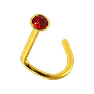 Gold Anodized 316L Steel Nose Stud Screw Ring w/ Red Strass