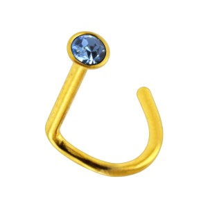Gold Anodized 316L Steel Nose Stud Screw Ring w/ Light Blue Strass