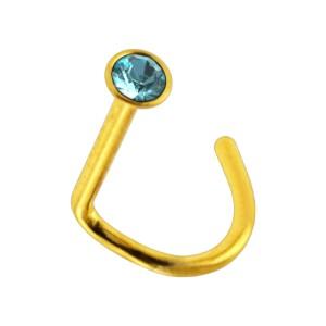Piercing Nez Acier 316L Anodisé Doré Strass Turquoise