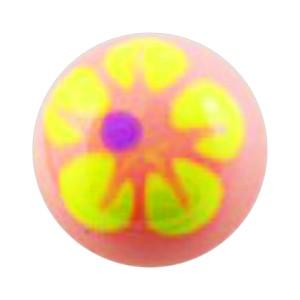 Boule de Piercing Acrylique Fleur 5 Pétales Jaune / Rose