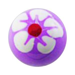 Boule de Piercing Acrylique Fleur 5 Pétales Blanc / Violet