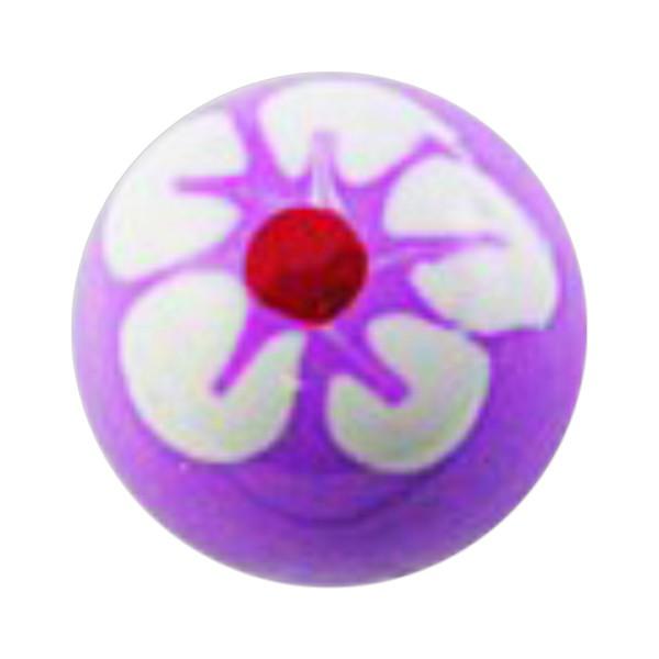 piercing kugel acryl blume 5 bl tenbl tter wei lila. Black Bedroom Furniture Sets. Home Design Ideas