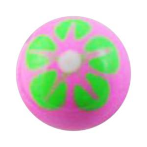Boule de Piercing Acrylique Fleur 5 Pétales Vert / Rose
